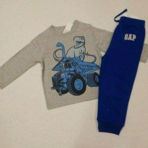 NWT 2pc Gap Dinosaur Dump Truck Shirt & Pants